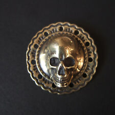 "1-1/4"" Brass Skull Flower Concho Screw Back  Belt Saddle Leathercraft Decor Punk"