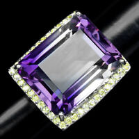 BIG PURPLE YELLOW AMETRINE 48.50 CT. SAPPHIRE 925 STERLING SILVER RING SIZE 6.25