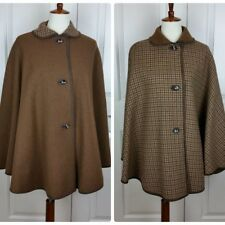 Vintage Mid-Century Austrian Wool Reversible Cape Houndstooth Solid Felted Edge