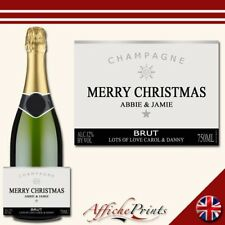 L82 Personalised Champagne Silver Christmas Brut Bottle Label - Perfect Gift!