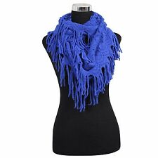 NEW WOMEN FASHION WINTER FRINGE TASSEL NECK KNIT CABLE INFINITY COWL BLUE SCARF