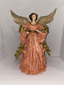 """Vintage Christmas Tree Angel Topper Paper Machete Type Pink And Gold 15"""""""