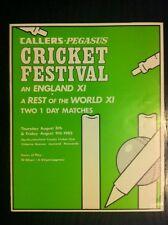 CALLERS PEGASUS An England XI  V Rest Of The World XI Scorecard Cricket 1985