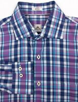 PETER MILLAR Men's Medium Purple Blue Check Plaid Long Sleeve Button Front Shirt