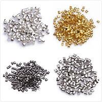 Multicolore Perles Tubes à écraser Pour Bracelet Collier Métal 2x1.7mm 500pcs