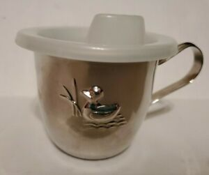 Infant Silver Plated Sippy Cup with Plastic Lid & Embossed Duck Front NEW