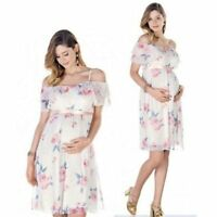 Pregnant Women Summer Casual Off Shoulder Dress Floral Maternity Dresses Clothes