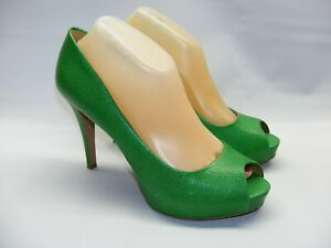 "Nine West Women's Green Size 9 M Platform Peep Toe Pumps 4"" Heels Scales Shoes"
