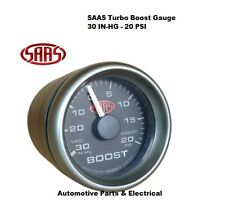 "SAAS Turbo Boost Gauge Black Face Dial 52mm 2"" Multi Colour + Fitting Kit"
