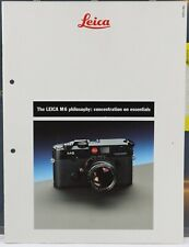The LEICA M6 philosophy : concentration on essentials 1988 28 pages