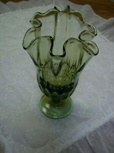 "Vintage Olive Green Blown Glass Pedestal Footed Vase (9"" Tall)"