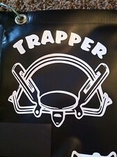 White Vinyl Decal TRAPPER coil spring Trap traps trapping 6x6 # 101