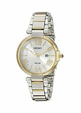 Seiko Solar Silver Dial Two-Tone Stainless Steel Band Quartz Ladies Watch SUT174