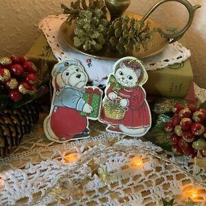 Cat & Dog Vintage Cardboard Christmas Tree Decorations - Hanging Decoration