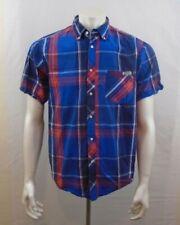 Cherokee Blue Red Short Sleeve Men's Button Down Cotton Casual Shirt Size Medium