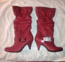 Journee Collection Red Faux Leather Boots Size 10 - Halloween Cosplay Costume