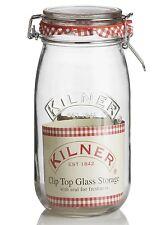 Kilner Round Airtight Clip Top Clear Glass Jam Preserve Jar 1.5 2 & 3 litres
