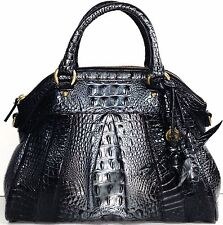 ❤️BRAHMIN LOUISE ROSE TWILIGHT BLACK STEEL SILVER SATCHEL CROC LEATHER ~ MYSTIC❤