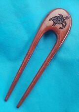 Hawaiian Koa Wood Sea Turtle Hair Stick Pick - Made In Hawaii