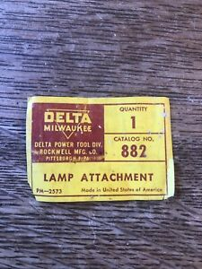 Delta Milwaukee Rockwell No. 882 Retirement Light Lamp Attachmebt Machine Tag