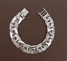 MEN'S Roman Patterned  Link Bracelet 8.5 inches  in 925 Sterling Silver 46 Grams