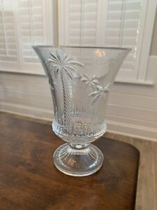 Shannon Crystal Palm Tree Hurricane Vase/Candle Holder