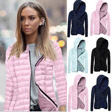 Womens Slim Fit Padded Coat Ladies Hooded Collar Winter Short Zipper Jacket Tops