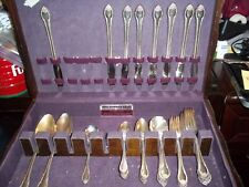43pc 1847 ROGER BROS. IS REMEMBRANCE SILVERPLATE SILVERWARE FLATWARE SET + CASE