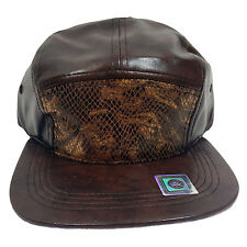 5 Panel Faux Leather And Snake Skin Brown Cap Hat CN480