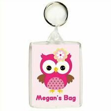 Personalised PINK OWL Keyring / Bag Tag