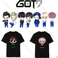 KPOP GOT7 Cartoon T-shirt Jackson Tshirt JB JR Unisex Tee Mark Bambam Cotton