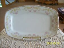 Hermann Ohme Porcelain Square Serving Tray Delicate Rose Scroll Ribbon Germany