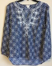 J. CREW Women Blue White Geometric Print Embroidered Longsleeve Tunic Size XS