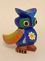 Alebrije Folk Art wood OWL handpainted Oaxaca Mexico signed Blue orange wings