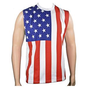 Adult Men's USA American Flag 4th of July Patriotic Sleeveless Shirt Tank Top
