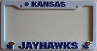 University of Kansas Jayhawks College License Plastic Frame Plate White Tag Fan