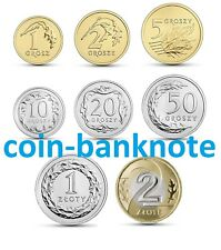 1 2 5 10 20 50 groszy grosz 1 2 zloty 2019 Polen Poland Polonia set 8 coins UNC