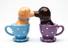 Kissing Labrador Retriever Teacup Magnetic Ceramic Salt and Pepper Shakers Set