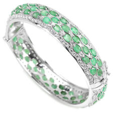 NATURAL 74 PCS. GREEN EMERALD & WHITE CZ STERLING 925 SILVER BANGLE SIZE 6.5""