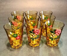 9 Small Old Liqueur Glasses Floral Decor.