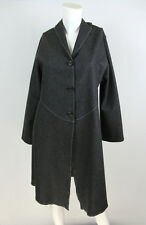 Rozae Nichols 8 M Coat Gray Felted Wool Blend Stitch Detail Button Front Jacket