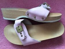 Dr Scholl pale pink leather buckled Pescura low heel wooden clogs sandals 5 38