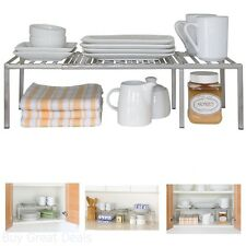 Kitchen Cabinet Expandable Shelf Organizer Dish Cup Can Storage Rack Pantry Iron