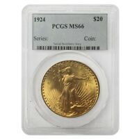 1924 $20 Gold Saint Gaudens Double Eagle Coin PCGS MS 66