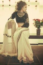 Linen Silk Handloom South India Saree Sari Blouse Black White Ivory Offwhite NEW