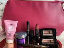 NEW LANCOME Gift Set 7 Pcs Makeup Travel Size W/ Pink Cosmetic Bag