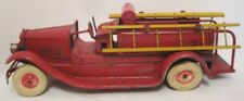 "RARE Antique Pressed Steel Wind Up Toy Fire Truck w Ladders 13"" Kingsbury 1930s"