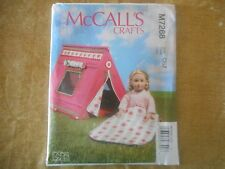 """McCall's crafts sewing pattern M7268 18"""" Doll Sleeping Bag and Tent"""