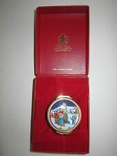 1993 HALCYON DAYS ENAMEL CHRISTMAS BOX - IN THE BOX WITH CERTIFICATE - MINT COND