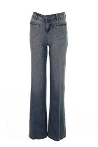 Ladies Wide Leg Retro 60's 70's Quinn Flared Womens Vintage Denim Jeans 8 10 12